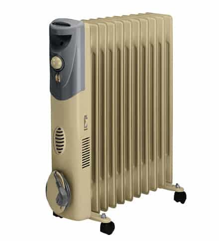 Calorifer electric cu ulei de culoare crem si cu termostat electronic