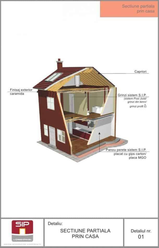 Detaliu sectiune prin casa din lemn