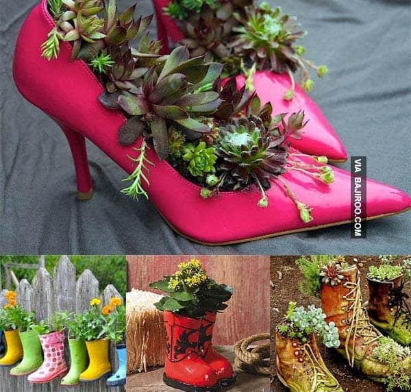 4. decor gradina din papuci