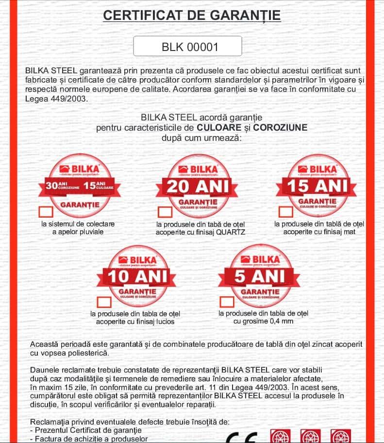 certificat de garantie Bilka