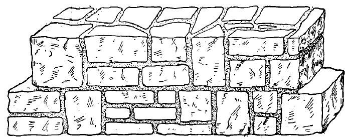 Complectarea straturilor orizontale la zidaria din piatra cioplita