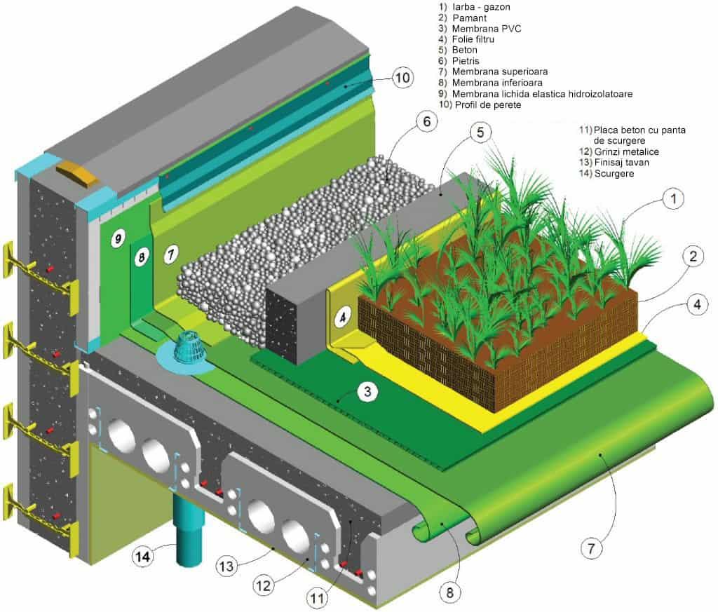 detaliu straturi acoperis verde