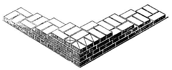 intalnirea la colt a doua ziduri de 1 si 1pe2 caramizi