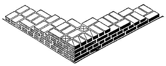intalnirea la colt a unui zid de 1 si 1pe2 caramizi cu unul de 2 caramizi