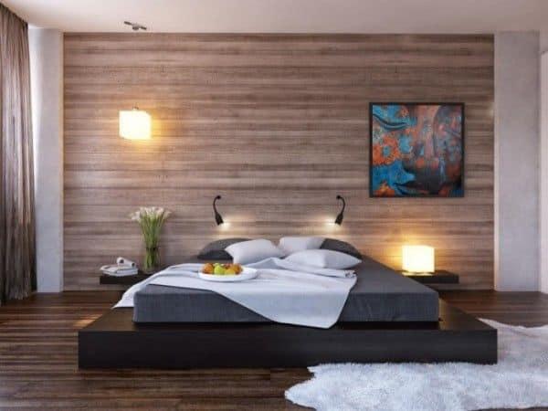 parchet laminat pe perete design dormitor