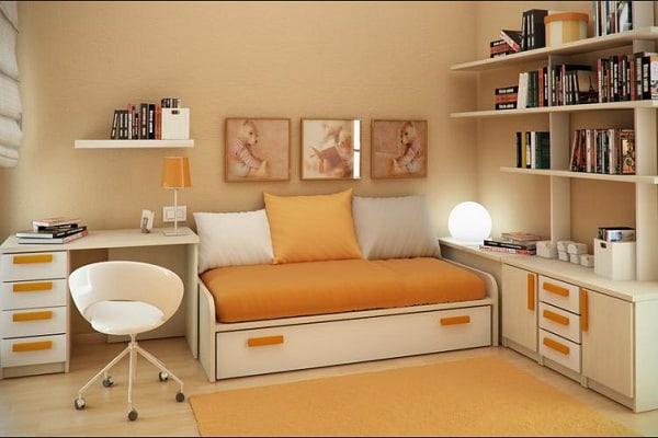mobila dormitor tineret portocaliu si crem