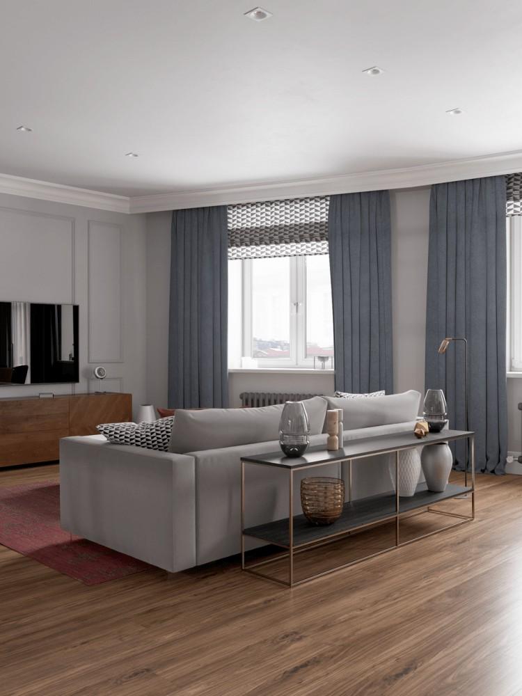 design living cu draperii gri