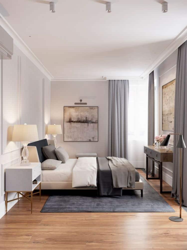 amenajare dormitor matrimonial cu draperii de culoare gri