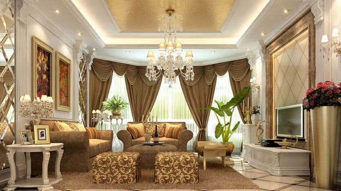 sufragerie cu draperii de lux
