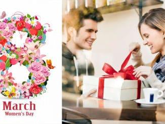 barbat care ii ofera un cadou de 8 martie unei femei