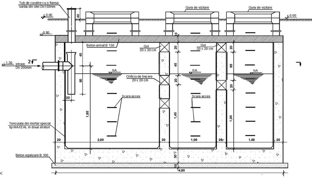 proiect fosa septica din beton cu 3 compartimente