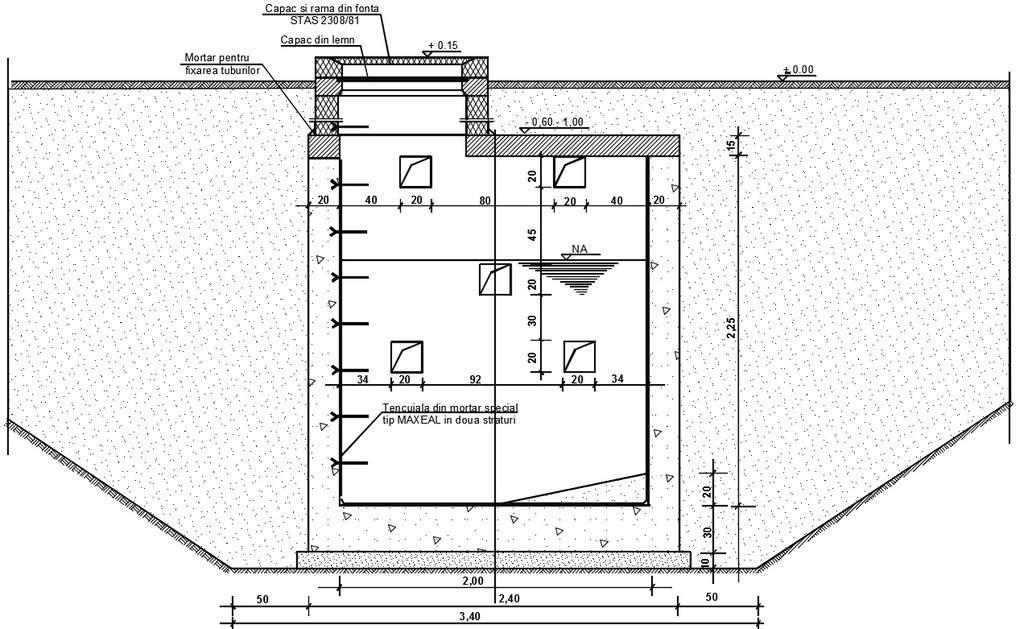 fosa din beton cu 2 compartimente