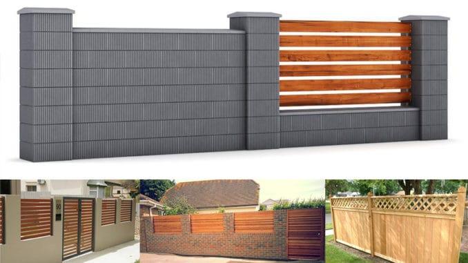modele de gard din lemn si beton