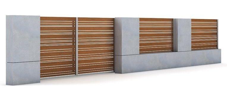 gard beton si lemn