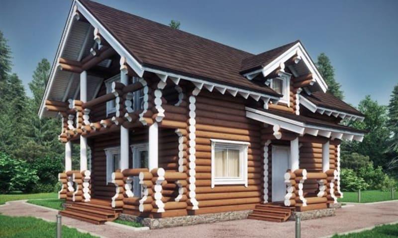 casa din lemn rotund finisata