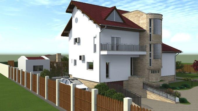 fatada casa cu 2 nivele si mansarda