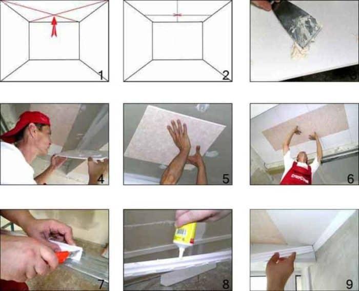 cum se monteaza placile din polistiren pentru tavan