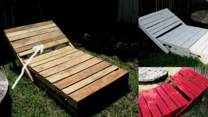 sezlong din paleti din lemn