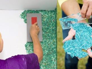 aplicare tapet lichid pe perete