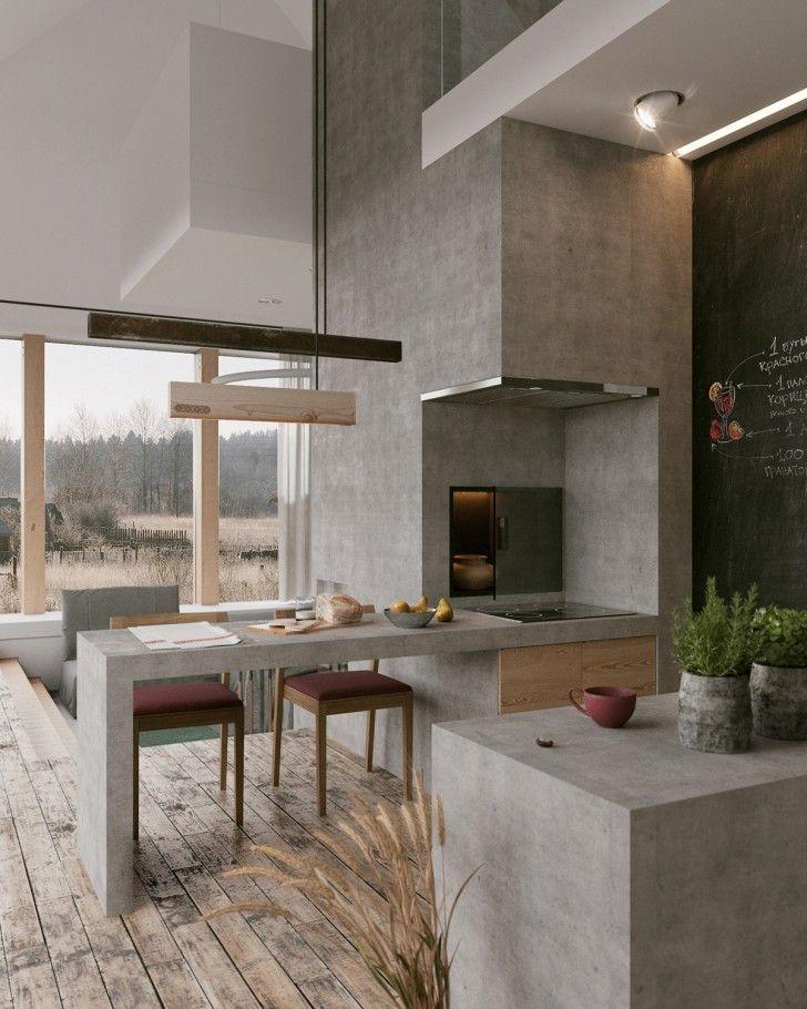 bucatarie finisata din beton